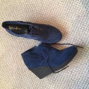 COLE HAAN suede lace up wedges!